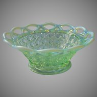 Imperial Glass Green Opalescent Lace Rim Cane Bowl Vintage Dish
