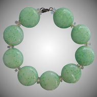 1920s Glass Beads Bracelet Vintage Coin Shaped Peking Art Glass