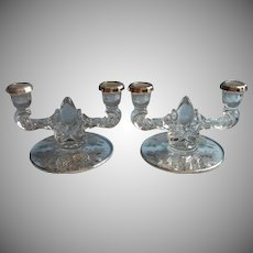 Sterling Silver Overlay Glass Candlesticks Vintage Blossom Time Silver City Double 2 Light