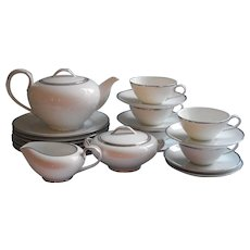 Simple Platimum White Noritake China Tea Set Dessert Service Vintage