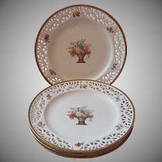 ca 1920 Antique Pierced Reticulated Plates China Flower Baskets Germany