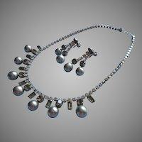 1950s Gray Glass Faux Pearls Rhinestones Vintage Necklace Dangle Earrings Set