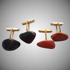 Vintage Cufflinks Goldstone Blue Sandstone Nuggets Night And Day Suite