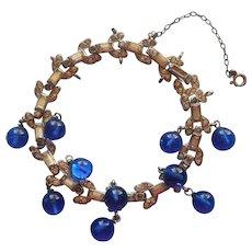 Vintage 1930s Art Deco Bracelet Rhinestone Blue Glass Dangles TLC - Red Tag Sale Item