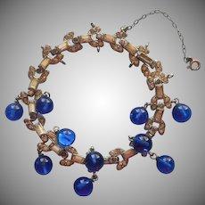 Vintage 1930s Art Deco Bracelet Rhinestone Blue Glass Dangles TLC