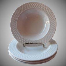 Oneida Basketweave 4 Flat Soup Bowls Pasta Salad Majesticware Stoneware