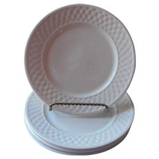 Oneida Basketweave 4 Salad Plates Majesticware Stoneware