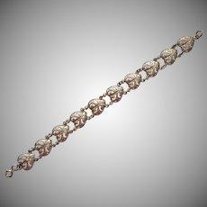 Vintage Hearts Sterling Silver Bracelet Heart Shaped Pierced Links