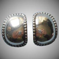 Vintage Sterling Silver Large Clip Earrings Thai Potato Chip Shape Beaded Rim