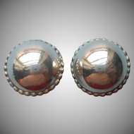 Vintage Sterling Silver Large Earrings Round Clip Beaded Rim Classic
