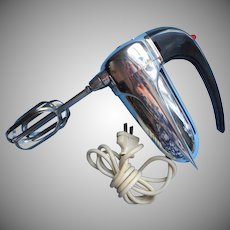 Vintage Sunbeam Hand Mixer Model JC Chrome Fins Incredibly Heavy Works