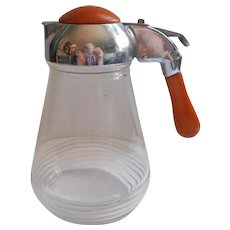 Bakelite Syrup Pitcher Dispenser Vintage Glass Metal Butterscotch Color