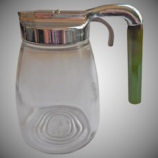 Bakelite Syrup Picther Dispenser Vintage Glass Metal Green Handle