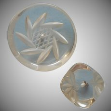 Vintage Buttons Lucite Reverse Carved