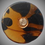 Antique Button Tortoiseshell Colored Glass Paste Jewel Center