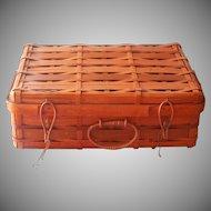 Vintage Basket Split Rattan Wood Suitcase Style Bittersweet Color