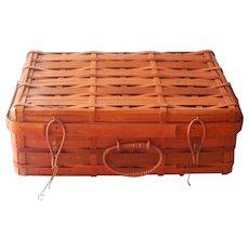 Vintage Basket Split Rattan Wood Suitcase Style Bittersweet Color - Red Tag Sale Item