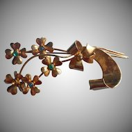 1940s Coro Sterling Silver Vermeil Pin Flowers Bow Ribbon