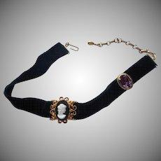 1960s Choker Necklace Vintage Slide Cameo Danecraft Gold Filled Faux Amethyst Velvet Ribbon