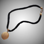 1960s Locket On Black Velvet Rope Necklace