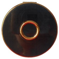 Rouge Compact Vintage Charles Of The Ritz Black Gold Tone Metal