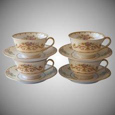 Noritake Arabella 4 Cups Saucers Vintage China