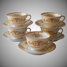 Noritake Arabella 5 Cups Saucers Vintage China