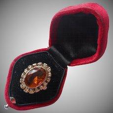 ca 1930 Ring Vintage Costume Brass Faux Citrine Glass Rhinestones