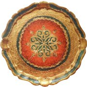 Vintage Florentine Italy Wood Gesso Tray Gold Orange Green 11.5 Inches