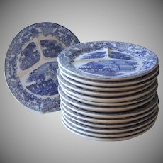 Antique Dutch Blue Transferware Plates Set Abbey Pattern Peirus Regout Maastricht