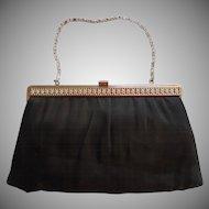 Vintage Evening Purse Matte Black Satin Silver Tone Rhinestone Frame Converts To Clutch