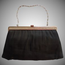 Vintage Evening Purse Matte Black Satin Silver Tone Rhinestone Frame Converts To Clutch