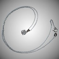 1980s Sterling Silver Vintage Italian CZ Pendant On Fine Chain Necklace Italy