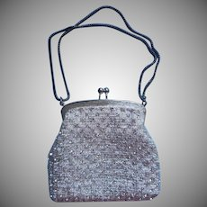 1960s Walborg Evening Purse Vintage Small Rhinestones Silver Lurex Fabric