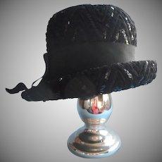 1960s Hat Chenille Sequins Soutache Modified Bucket Cloche Vintage 22.5