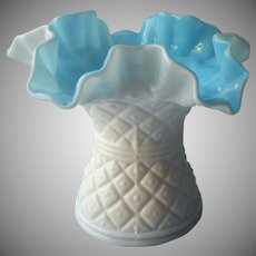 Vintage Cased Glass Vase Blue White Ruffled Crimped Rim