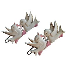 1950s Barrettes Baby Child's Vintage Hard Plastic Birds Pink White Gold