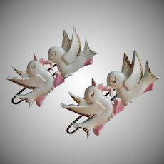 1950s Barrettes Baby Child's Vintage Hard Plastic Birds Pink White Gold