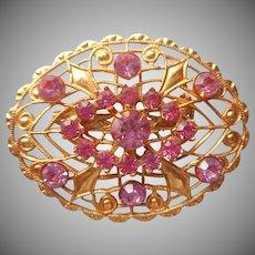 Vintage Pin Pink Rhinestones Gold Color Filigree Edwardian Revival