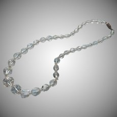 Cut Crystal Beads Necklace Vintage On Chain Triangle Cuts