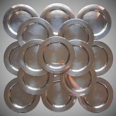 Monogram M Silver Plated Bread Plates Set 16 Vintage 1950s