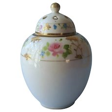 Nippon Potpourri Jar Antique China Hand Painted Rose Petal TLC