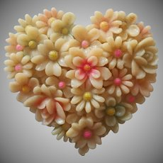 1930s Celluloid Dress Clip Heart Shaped Molded Flowers