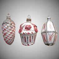 Vintage Christmas Tree Ornaments Glass Basket Roses Pine Cone Lantern