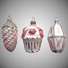 Vintage Christmas Tree Ornaments Glass Basket Roses Pine Cone Lantern