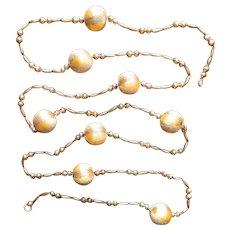 Vintage Christmas Tree Garland Glass Bead Spun Satin Balls Gold
