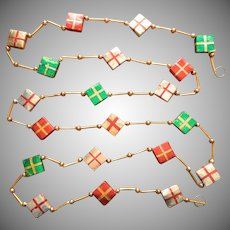 Vintage Christmas Tree Garland Glass Bead Paper Foil Packages Japan