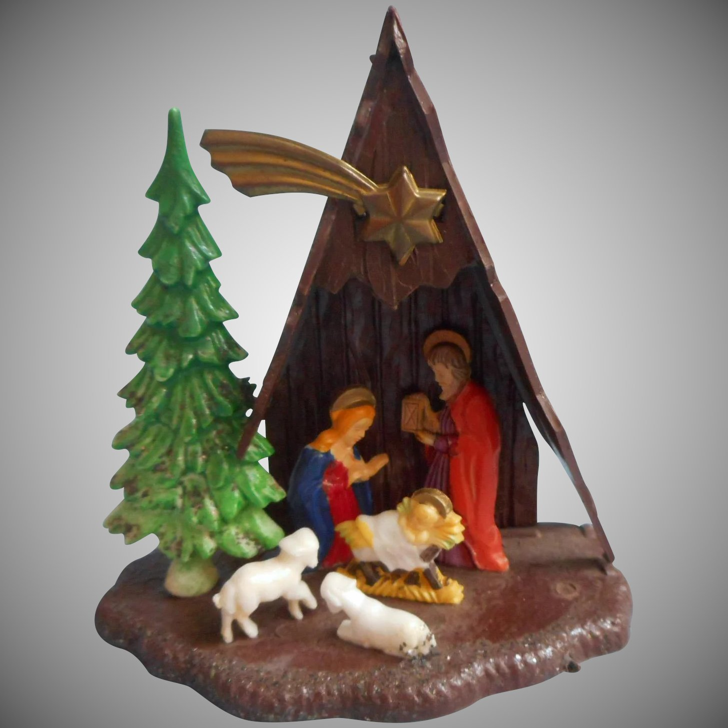 Vintage Religious Nativity Christmas Ornament: Vintage A Frame Nativity Christmas Ornament Plastic Hong