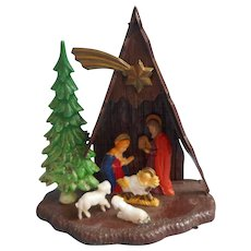 Vintage A Frame Nativity Christmas Ornament Plastic Hong Kong Size 444