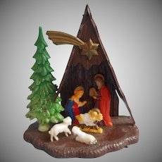 Vintage A Frame Nativity Christmas Ornament Plastic Hong Kong Size 444
